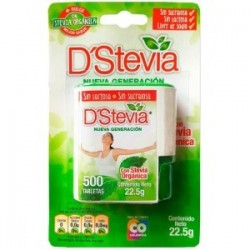 ENDULZANTE DSTEVIA DISPENSADOR 500 TABLETAS 22,5GR