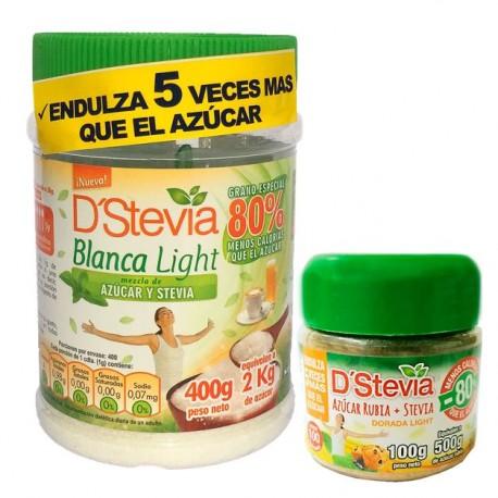 PACK AZUCAR BLANCA MAS STEVIA TARRO 400GR + DORADA LIGHT POTE 100G