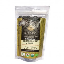 COBERTURA CHOCOLATE ORGANICA ARAWI 100% GOTAS 227 GR