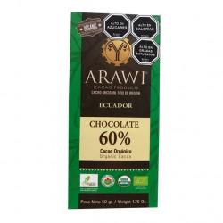 BARRA CHOCOLATE ORGANICO ARAWI 60% 50 GR