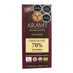 BARRA CHOCOLATE ORGANICO ARAWI 70% 50 GR