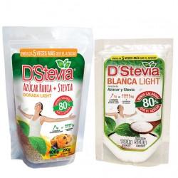 PACK AZUCAR DORADA MAS STEVIA DOY PACK 400GR + POTE DORADA LIGHT 100G