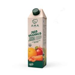 Jugo naranja manzana y manahoria organico 1 litro Marca Ama