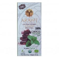 Barra chocomenta 100% cacao organico 50 gramos Marca Arawi