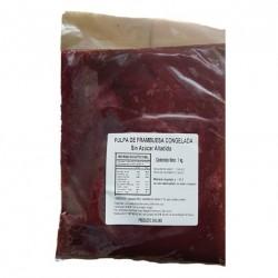 Pulpa de frambuesa 100% natural sin azucar congelada 1 kilo Marca Mercafood