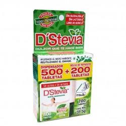 Endulzante dstevia dispensador 700 tabletas 31,5 gramos Marca D Stevia