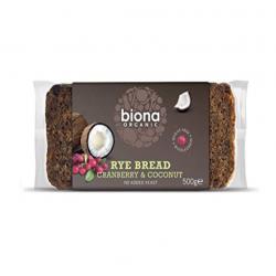Rye cranberry & coconut bread organic 500 gramos Marca Biona