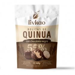 Bolitas quinua y maiz cubiertas de chocolate dark 40 gramos Marca Sunkao