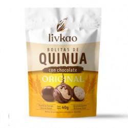 Bolitas quinua y maiz cubiertas de chocolate milk 40 gramos Marca Livkao