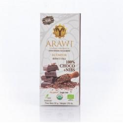 Barra choco nibs organica 100% 50 gramos Marca Arawi