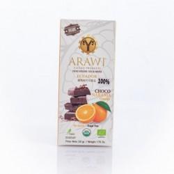 Barra choco naranja organica 100% 50 gramos Marca Arawi