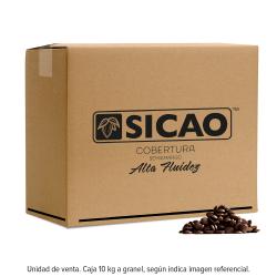 Caja de 10 kilogramos de cobertura Sicao semiamarga alta fluidez