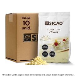 Caja de 10 kilogramos de cobertura Sicao blanca
