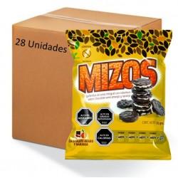 Caja galletas de arroz chocolate naranja 28 x 25 gramos Marca Mizos