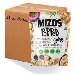 Caja popped chips de lentejas con tomate y albahaca 24 x 20 gramos Marca Mizos